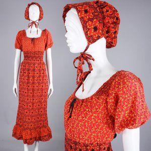 M/L/XL Vintage 70s Prairie Maxi Dress & Bonnet Set